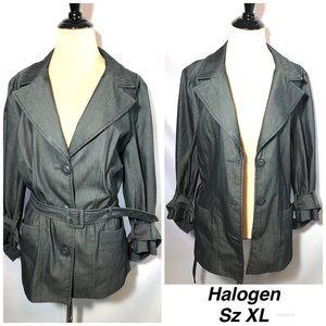 HALOGEN ~Black grey Jean Stretch Coat Jacket sz XL
